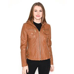 MIACHAEL MICHAEL KORS Brown Hooded Leather Jacket